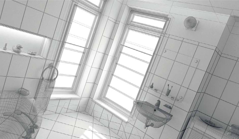 Bản vẽ phối cảnh 3D Thiết kế phòng tắm với gam mầu sáng