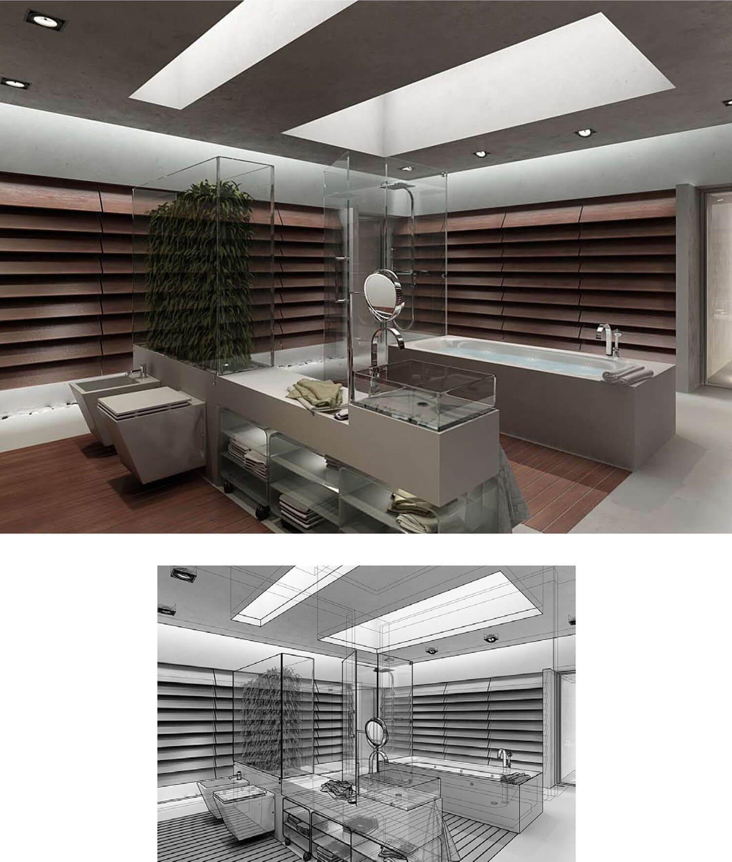 Nội thất ốp gỗ phòng tắm đưa thiên nhiên vào