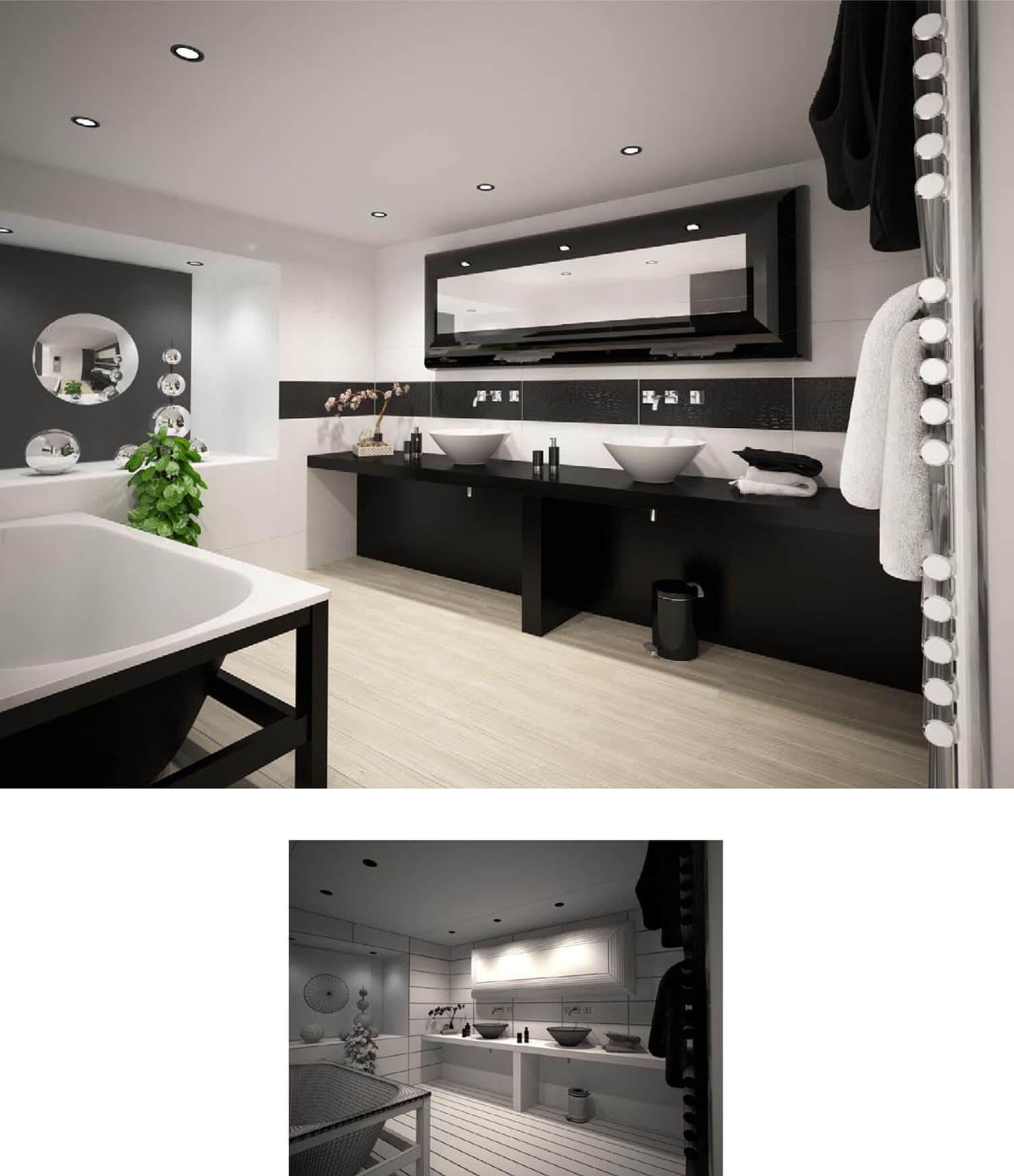 Nội thất phòng tắm thiết kế ấn tượng với tông màu đen trắng