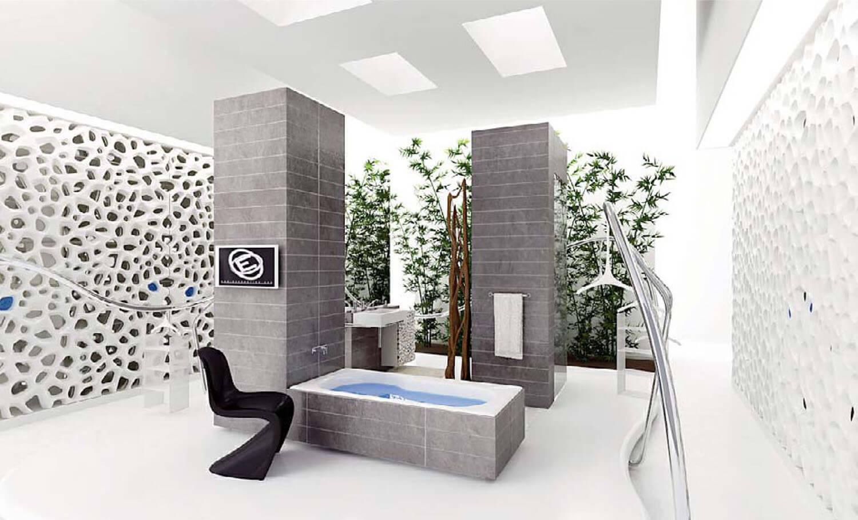Nội thất phòng tắm có tường silicone được làm độc đáo