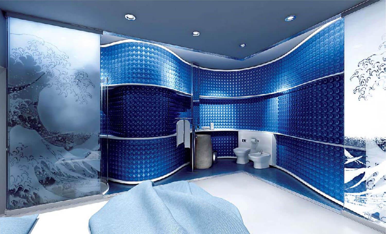 Phòng tắm uốn lượn mềm mại với màu xanh biển sâu