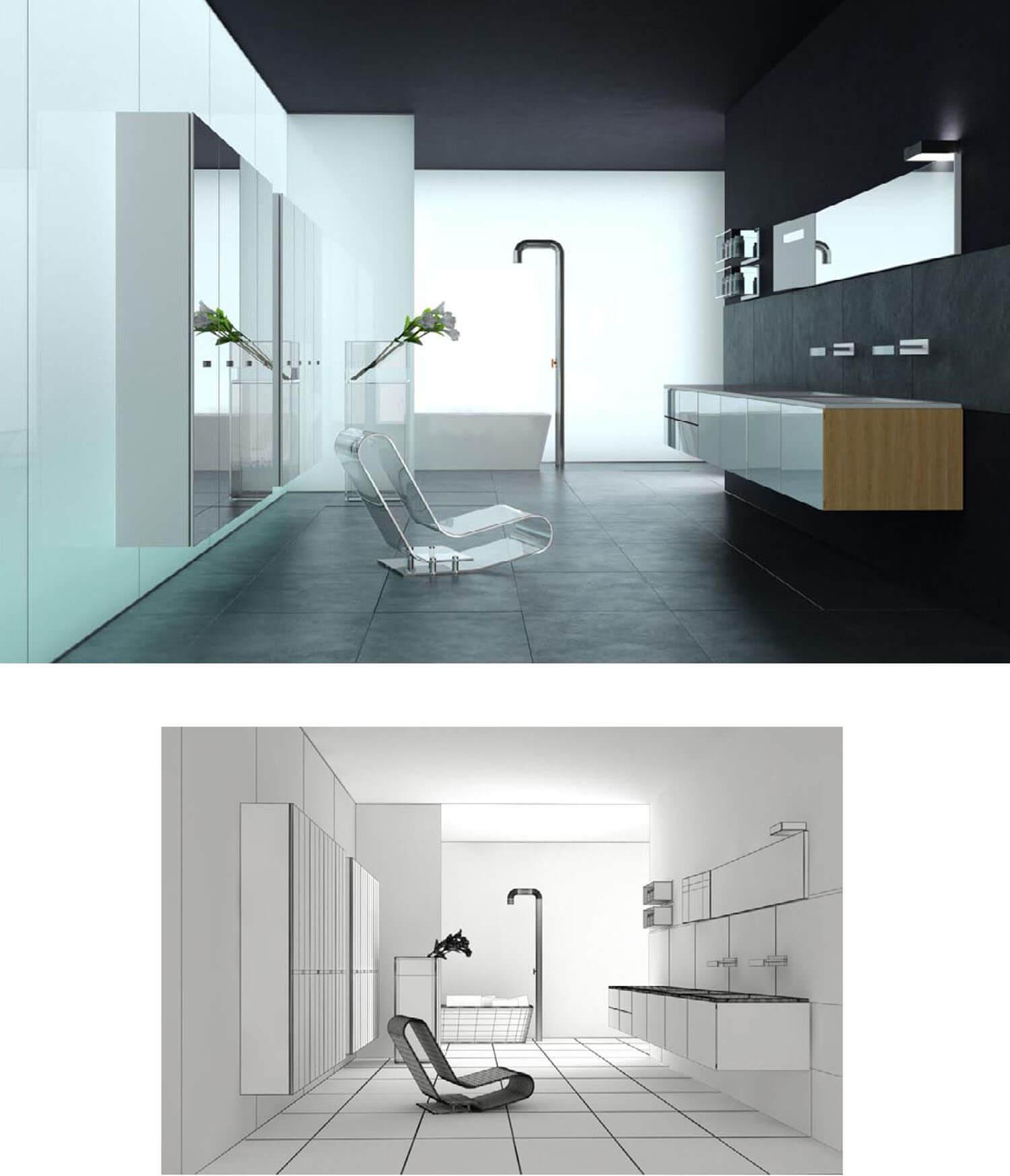 Thiết kế phòng tắm được bằng hệ thống tủ kệ kính trong