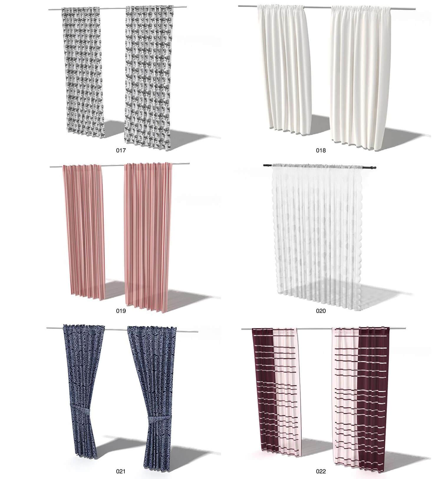 Các loại rèm vải màu sắc đơn giản được bù lại bởi kiểu dáng diêm dúa