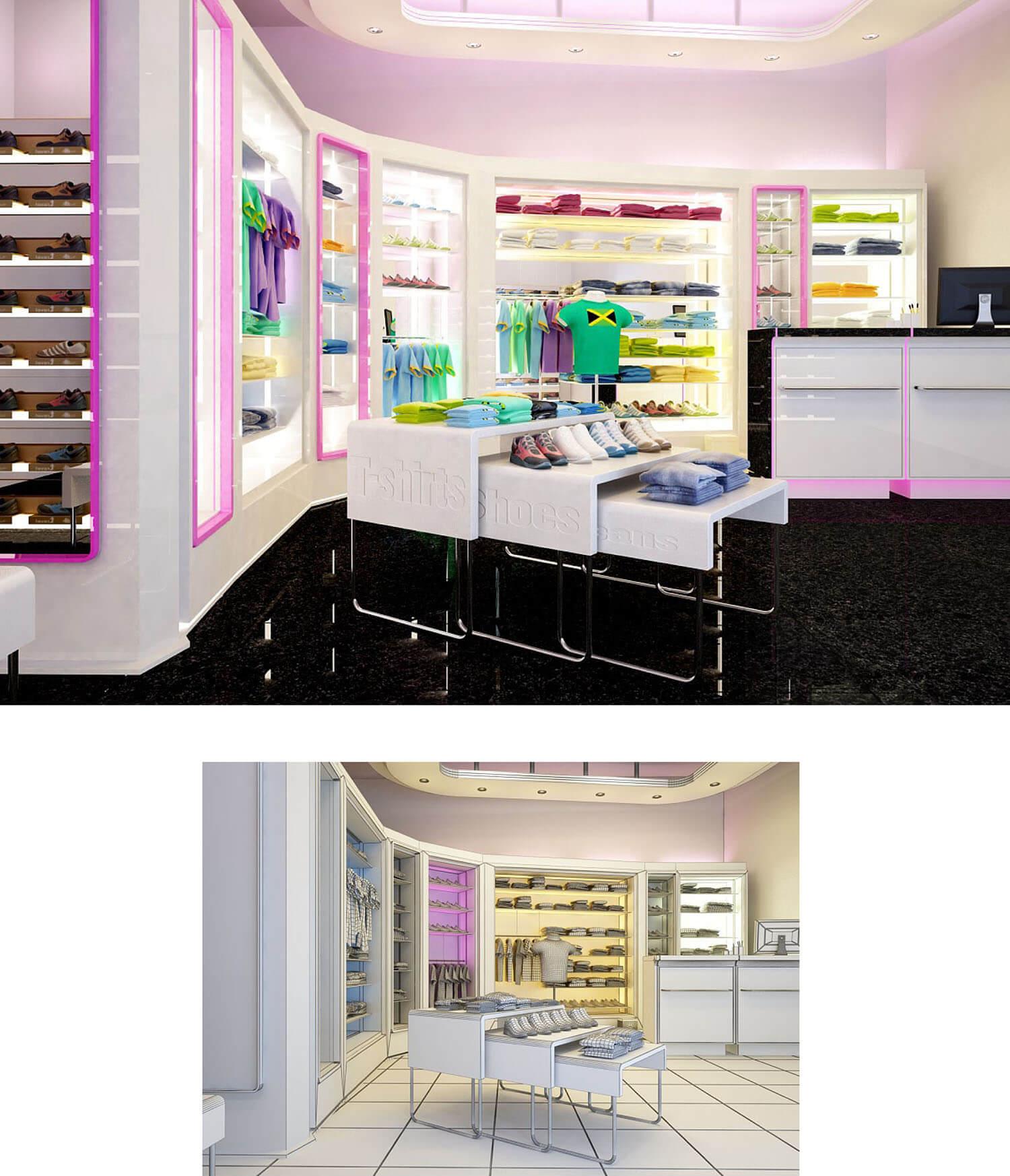 Thiết kế cửa hàng thời trang thể thao với sắc màu trẻ trung