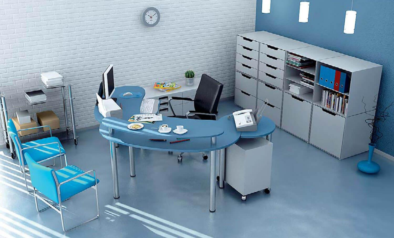 Văn phòng làm việc mát mẻ với tông màu xanh chủ đạo