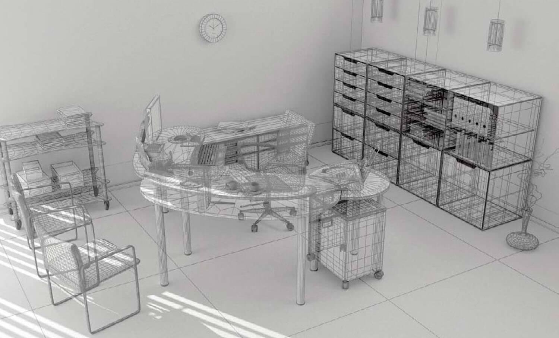 Bản vẽ phối cảnh 3D nội thất văn phòng làm việc
