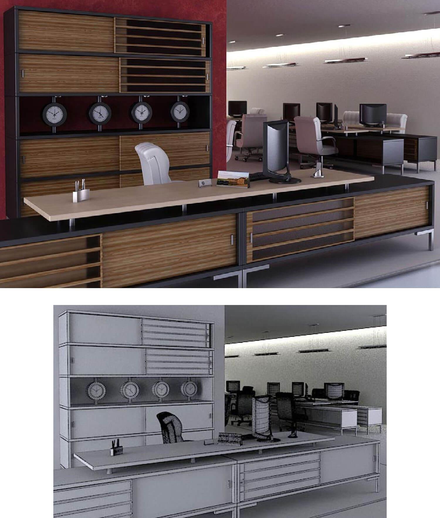 Mẫu văn phòng làm việc được thiết kế đồng bộ với bàn và tủ gỗ rất hoành tráng