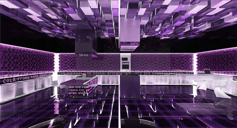 Thiết kế văn phòng tiếp khách dạng công nghệ cao được trang trí bằng trần tường kính gam màu tím