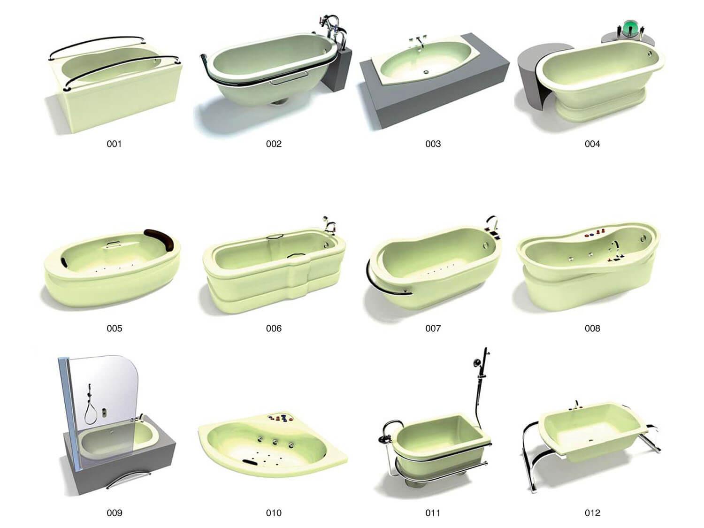 Các mẫu bồn tắm hình oval, hình chữ nhật cùng các chi tiết inox