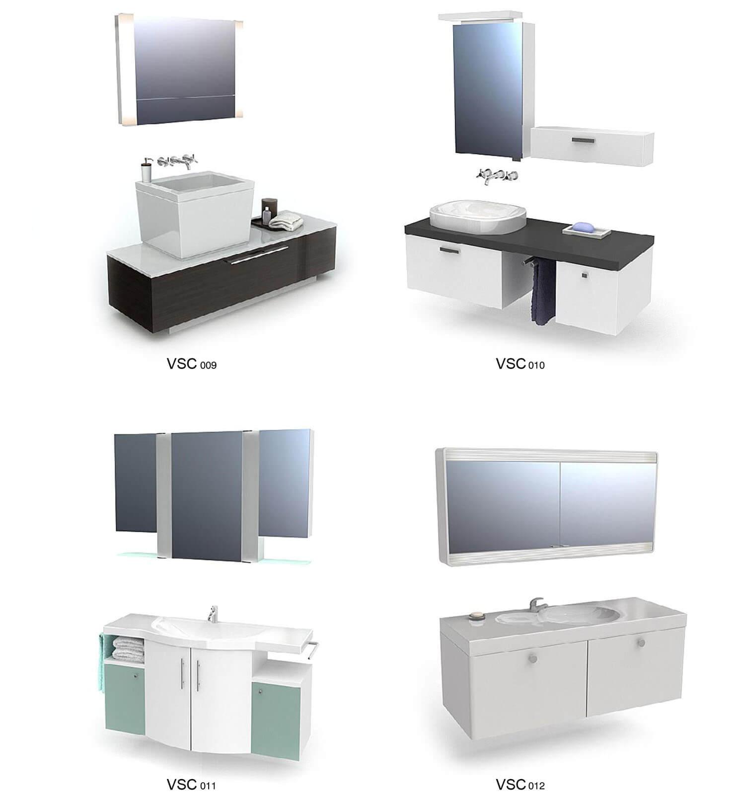 Gương và chậu rửa tay nhiều kiểu dáng