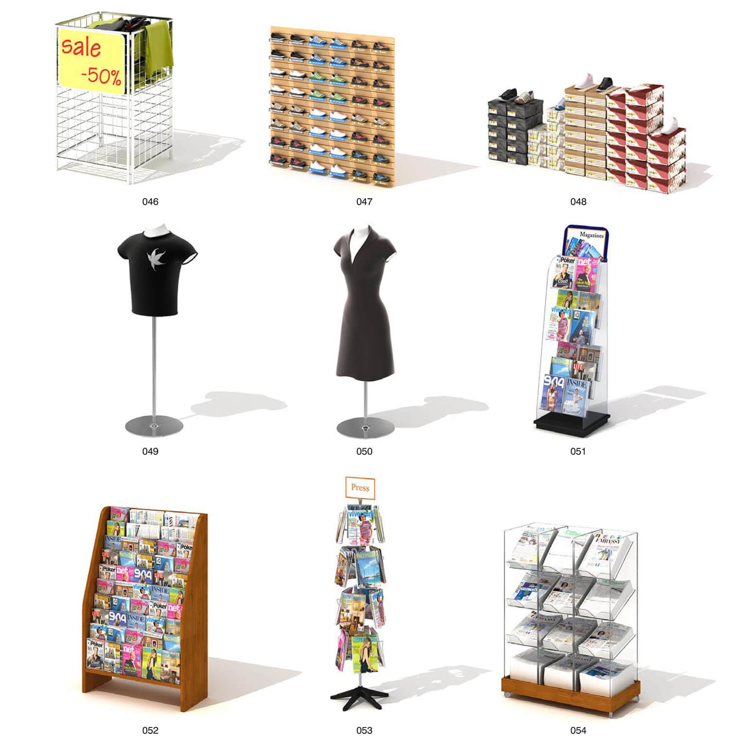 Các giá kệ bán hàng giày và sách báo thiết kế chuyên dụng