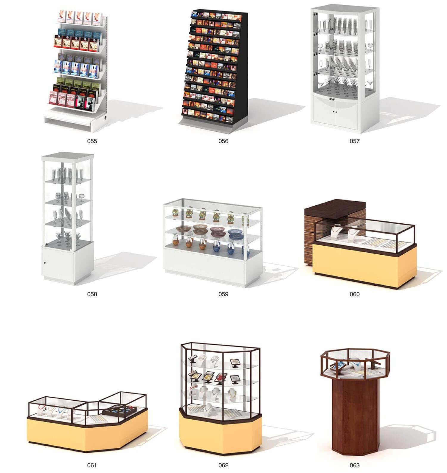 Một số mẫu tủ kính bán và trưng bày trang sức trong các cửa hàng vàng bạc, đá quý